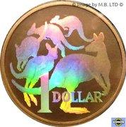 1 Dollar - Elizabeth II (4th Portrait - Mob of Roos - Hologram Version) -  reverse