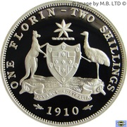 20 Cents - Elizabeth II (4th Portrait - Masterpiece in Silver - 1910 Florin) – reverse