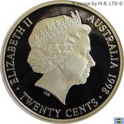 20 Cents - Elizabeth II (4th Portrait - Masterpiece in Silver - 1934 Victoria & Melbourne Centenary Florin) -  obverse