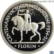 20 Cents - Elizabeth II (4th Portrait - Masterpiece in Silver - 1934 Victoria & Melbourne Centenary Florin) -  reverse