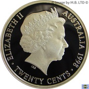 20 Cents - Elizabeth II (4th Portrait - Masterpiece in Silver - 1938 Florin) – obverse