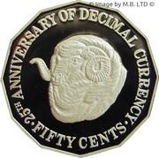 50 Cents - Elizabeth II (3rd portrait, Masterpieces in Silver) -  reverse