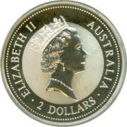 2 Dollars - Elizabeth II (3rd Portrait - Australian Kookaburra - Sovereign of Queen Victoria) -  obverse