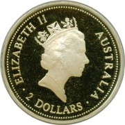 2 Dollars - Elizabeth II (Australian Kookaburra - Sovereign of King George V) -  obverse