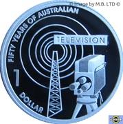 1 Dollar - Elizabeth II (4th Portrait - Television 50 Yrs - Silver Proof) -  reverse