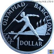 1 Dollar - Elizabeth II (3rd Portrait - Barcelona Olympics - Silver Proof) -  reverse