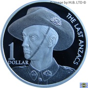 1 Dollar - Elizabeth II (The Last Anzacs) Silver Proof -  reverse
