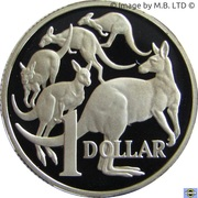 1 Dollar - Elizabeth II (4th Portrait - Mob of Roos - Silver Proof) -  reverse