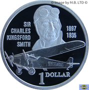 1 Dollar - Elizabeth II (3rd Portrait - Sir Charles Kingsford Smith - Silver Proof) – reverse
