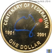 1 Dollar - Elizabeth II (4th Portrait - Federation Colourised Proof) -  reverse