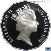 50 Cents - Elizabeth II (3rd Portrait - Masterpieces in Silver - First Fleet Bicentenary) -  obverse