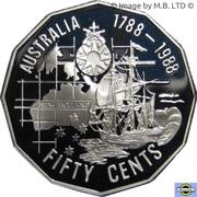 50 Cents - Elizabeth II (3rd Portrait - Masterpieces in Silver - First Fleet Bicentenary) -  reverse