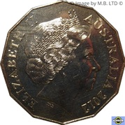 50 Cents - Elizabeth II (4th portrait; COA Colourised Set Issue) -  obverse
