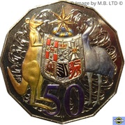 50 Cents - Elizabeth II (4th portrait; COA Colourised Set Issue) -  reverse