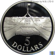 5 Dollars - Elizabeth II (3rd Portrait - Masterpieces in Silver - Parliament House) -  reverse