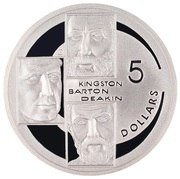 5 Dollars - Elizabeth II (4th Portrait - Kingston, Barton & Deakin - Masterpieces in Silver) -  reverse