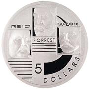 5 Dollars - Elizabeth II (4th Portrait - Reid, Forrest & Quick - Masterpieces in Silver) -  reverse