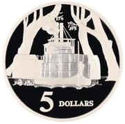 5 Dollars - Elizabeth II (3rd Portrait - Riverboat - Masterpieces in Silver) -  reverse