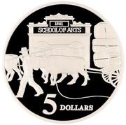 5 Dollars - Elizabeth II (3rd Portrait - Ox-Drawn Wagon - Masterpieces in Silver) -  reverse