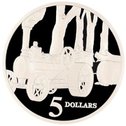 5 Dollars - Elizabeth II (3rd Portrait - Steam Tractor - Masterpieces in Silver) -  reverse