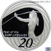 20 Cents - Elizabeth II (4th Portrait - Surf Lifesaver, Silver Proof) -  reverse