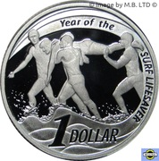 1 Dollar - Elizabeth II (4th Portrait - Surf Lifesaver - Silver Proof) -  reverse