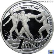 1 Dollar - Elizabeth II (Surf Lifesaver, Silver Proof) -  reverse