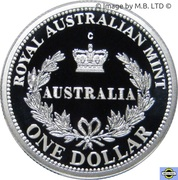 1 Dollar - Elizabeth II (4th Portrait - Australia's First Mints - Silver Proof) -  reverse
