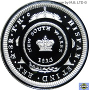 1 Dollar - Elizabeth II (4th Portrait - Bicentenary of the Holey Dollar & Dump - Silver Proof) -  reverse
