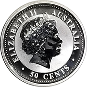 "50 Cents - Elizabeth II (""Lunar Year Series"" Silver Bullion Coinage) -  obverse"