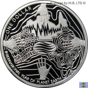 1 Dollar - Elizabeth II (International Year of Planet Earth, Silver Proof) -  reverse