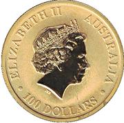 100 Dollars - Elizabeth II (4th Portrait - Kangaroo - Gold Bullion Coin) -  obverse