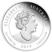 1 Dollar - Elizabeth II (6th Portrait - Moon Landing - Silver Bullion Coin) -  obverse