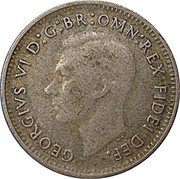 "3 Pence - George VI (without ""IND:IMP"") – obverse"