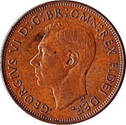 """1 Penny - George VI (without """"IND:IMP"""") -  obverse"""