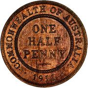 ½ Penny - George V – reverse