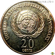 20 Cents - Elizabeth II (3rd Portrait - United Nations) – reverse