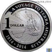 "1 Dollar  - Elizabeth II (""A Voyage to Terra Australis"") Silver Proof -  reverse"