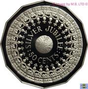 50 Cents - Elizabeth II (3rd Portrait - Masterpieces in Silver - Silver Jubilee) – reverse