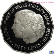 50 Cents - Elizabeth II (3rd Portrait - Masterpieces in Silver - Royal Wedding) -  reverse