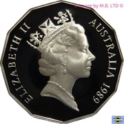 50 Cents - Elizabeth II (3rd Portrait - Brisbane Commonwealth Games - Masterpieces In Silver Set) -  obverse