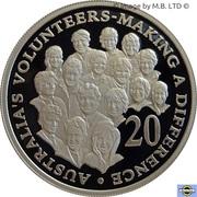 20 Cents - Elizabeth II (4th Portrait - Volunteers - Fine Silver Proof) – reverse