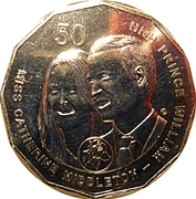 50 Cents - Elizabeth II (William and Kate) -  reverse