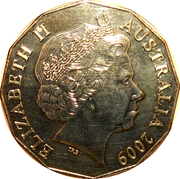 50 Cents - Elizabeth II (Moon Landing) -  obverse