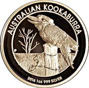 1 Dollar - Elizabeth II (Kookaburra silver proof high relief) -  reverse