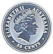 """50 Cents - Elizabeth II (4th Portrait - """"Lunar Year Series"""" Silver Bullion Coinage) -  obverse"""