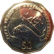 50 Cents - Elizabeth II (50th Anniversary of Surfing Australia) -  reverse