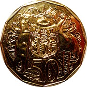 50 Cents - Elizabeth II (Gold Plated Coat of Arms) -  reverse