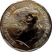 50 Cents - Elizabeth II (Richie Benaud 1930 - 2015) -  obverse