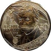 50 Cents - Elizabeth II (Richie Benaud 1930 - 2015) -  reverse